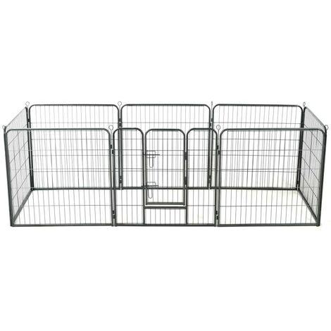 Hommoo Dog Playpen 8 Panels Steel 80x80 cm Black