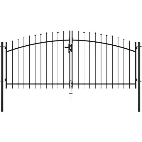 Hommoo Double Door Fence Gate with Spear Top 300x150 cm VD05988