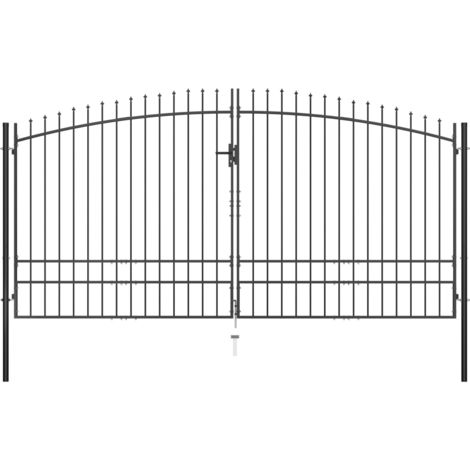 Hommoo Double Door Fence Gate with Spear Top 400x248 cm VD35208
