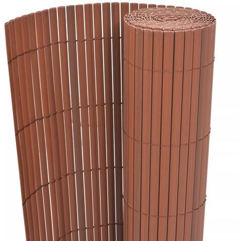 Hommoo Double-Sided Garden Fence PVC 150x300 cm Brown