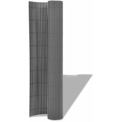 Hommoo Double-Sided Garden Fence PVC 150x300 cm Grey QAH27955