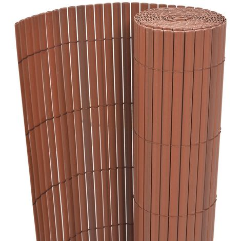 Hommoo Double-Sided Garden Fence PVC 90x300 cm Brown