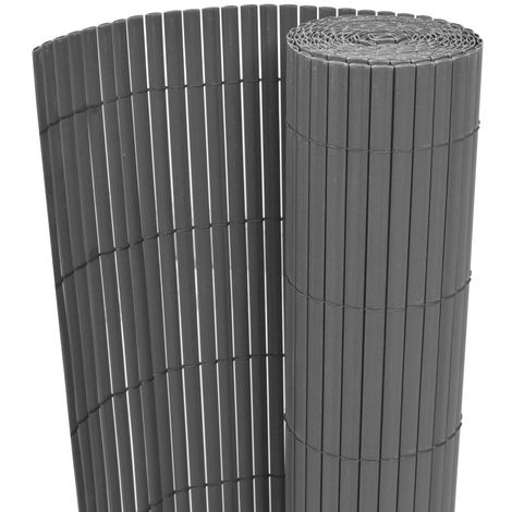 Hommoo Double-Sided Garden Fence PVC 90x500 cm Grey