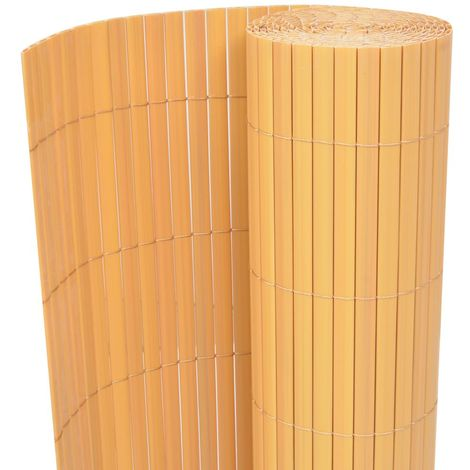 Hommoo Double-Sided Garden Fence PVC 90x500 cm Yellow