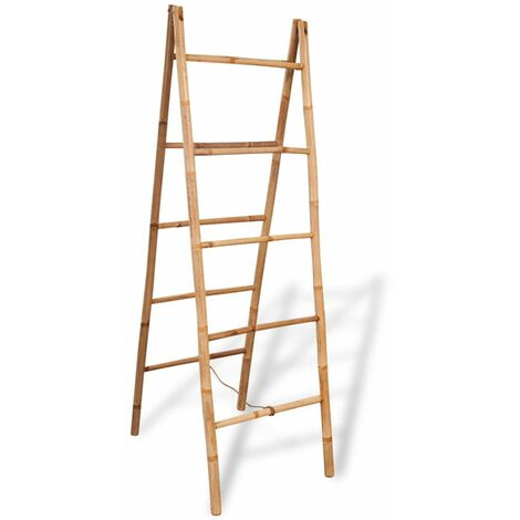 Hommoo Double Towel Ladder with 5 Rungs Bamboo 50x160 cm