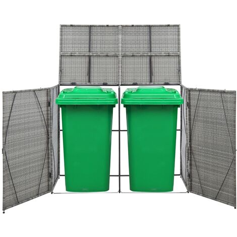 Hommoo Double Wheelie Bin Shed Anthracite 153x78x120 cm Poly Rattan QAH45638