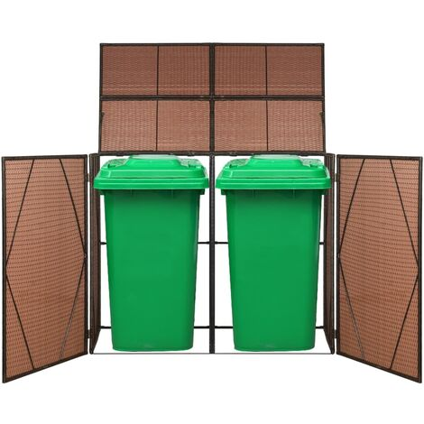 Hommoo Double Wheelie Bin Shed Brown 153x78x120 cm Poly Rattan QAH45635