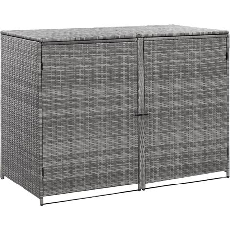 Hommoo Double Wheelie Bin Shed Poly Rattan Anthracite 148x77x111 cm VD45532