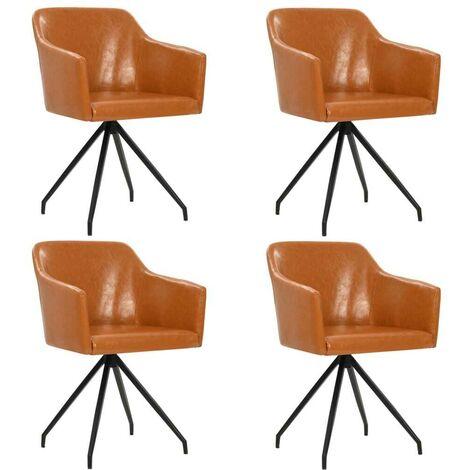 Hommoo Drehbare Esszimmerstühle 4 Stk. Braun Kunstleder VD18952