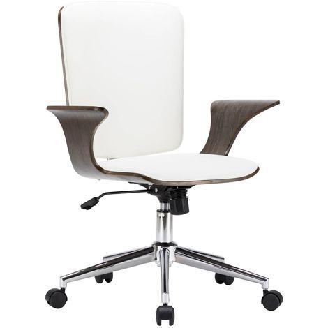 Hommoo Drehbarer Bürostuhl Weiß Kunstleder und Bugholz VD24023