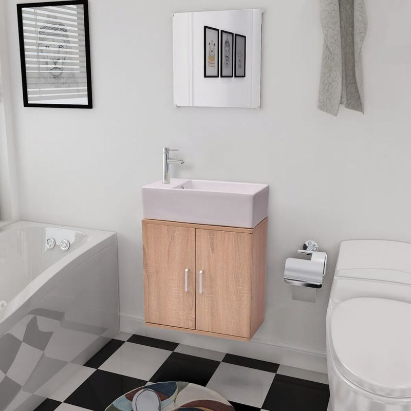 Hommoo Dreiteiliges Badmöbel-Set mit Waschbecken Beige VD15785