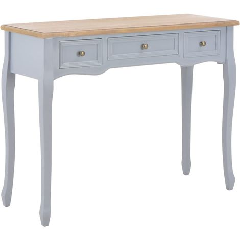 Hommoo Dressing Console Table with 3 Drawers Grey