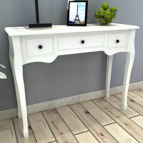 Hommoo Dressing Console Table with Three Drawers White