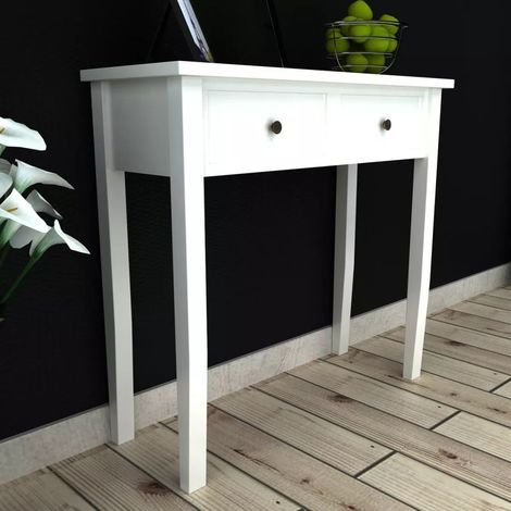 Hommoo Dressing Console Table with Two Drawers White VD08568