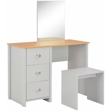 Hommoo Dressing Table with Mirror and Stool Grey 104x45x131 cm VD24435