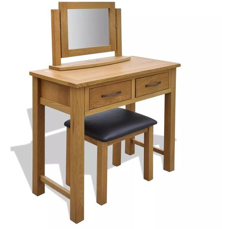Hommoo Dressing Table with Stool Solid Oak Wood VD09394