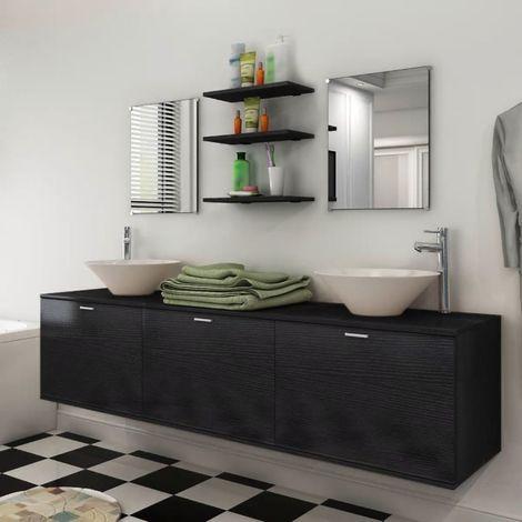 Hommoo Eight Piece Bathroom Furniture and Basin Set Black VD15790