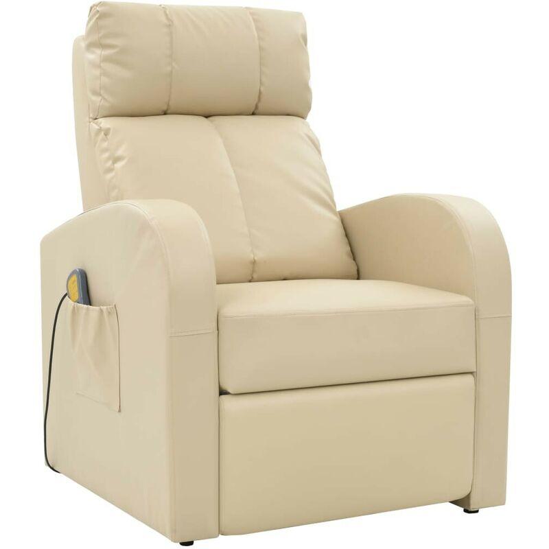 Elektrischer Massagesessel mit Fernbedienung Creme VD30936 - Hommoo