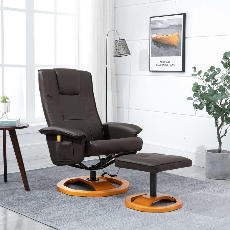 Hommoo Elektrischer Massagesessel mit Fußhocker Braun Kunstleder VD14069