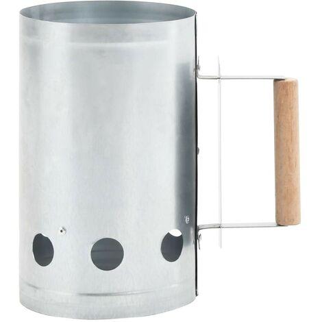 Hommoo Encendedor de barbacoa de carbón de acero galvanizado