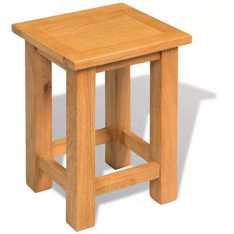 Hommoo End Table 27x24x37 cm Solid Oak Wood VD10361