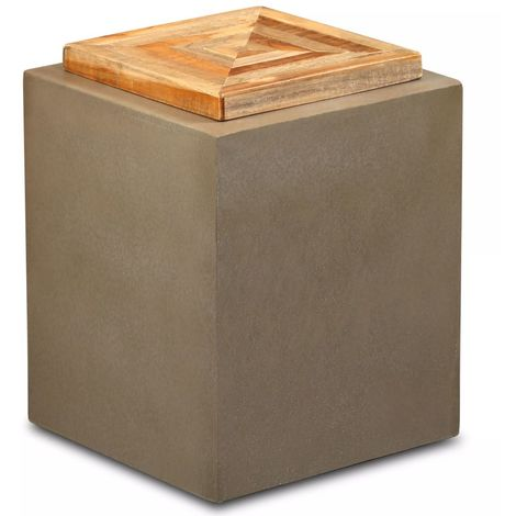 Hommoo End Table Reclaimed Teak and Concrete 35x35x45 cm