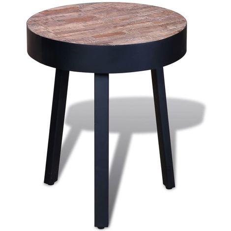 Hommoo End Table Round Reclaimed Teak Wood