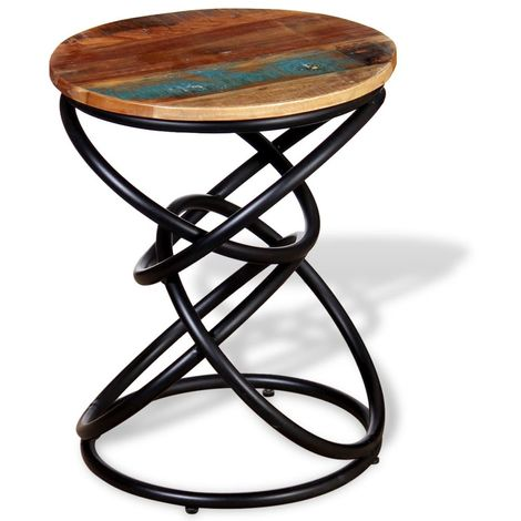 Hommoo End Table Solid Reclaimed Wood VD10385
