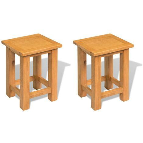 Hommoo End Tables 2 pcs 27x24x37 cm Solid Oak Wood VD40076