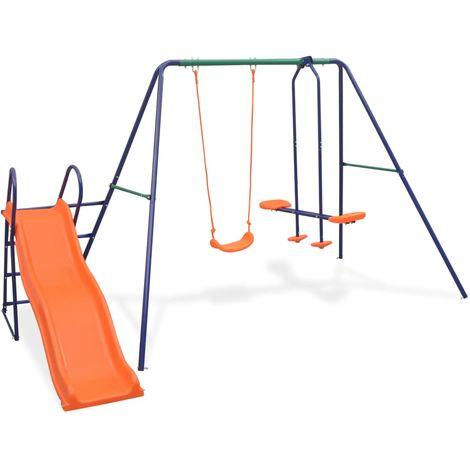 Hommoo Ensemble de balançoire avec toboggan et 3 sièges Orange