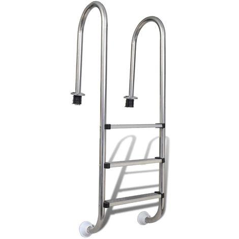 Hommoo Escalera de piscina 3 peldaños acero inoxidable 120 cm
