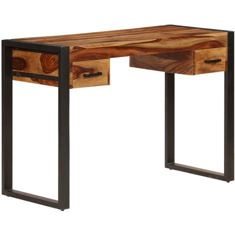 Hommoo Escritorio con 2 cajones 110x50x77 cm madera maciza de sheesham