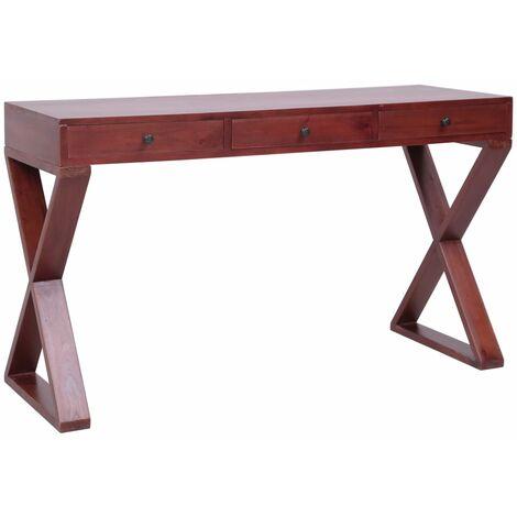 Hommoo Escritorio ordenador madera maciza de caoba marrón 132x47x77 cm