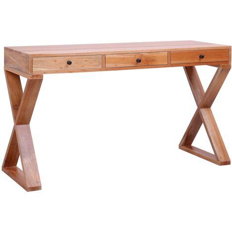 Hommoo Escritorio ordenador madera maciza de caoba natural 132x47x77cm