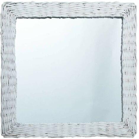 Hommoo Espejo de mimbre blanco 60x60 cm