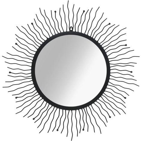 Hommoo Espejo de pared con forma de sol radiante 80 cm negro