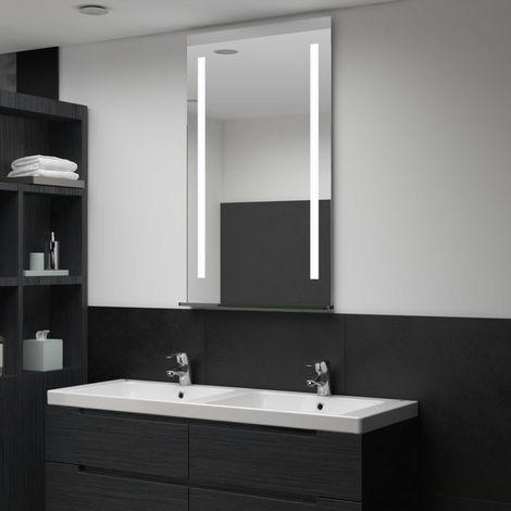 Hommoo Espejo de pared de baño con LED y estante 60x100 cm
