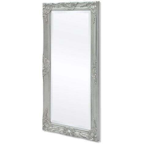Hommoo Espejo de pared estilo barroco 100x50 cm plateado