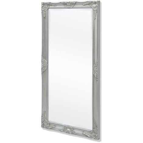 Hommoo Espejo de pared estilo barroco 120x60 cm plateado