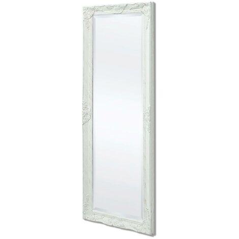 Hommoo Espejo de pared estilo barroco 140x50 cm blanco