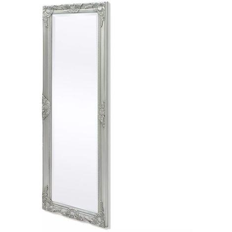 Hommoo Espejo de pared estilo barroco 140x50 cm plateado