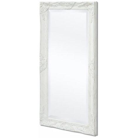 Hommoo Espejo de pared estilo barroco blanco 100x50 cm