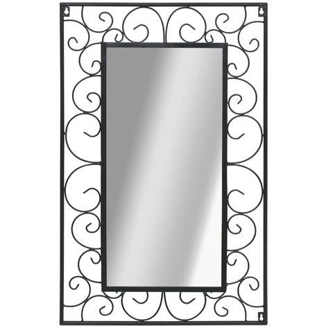 Hommoo Espejo de pared rectangular 50x80 cm negro