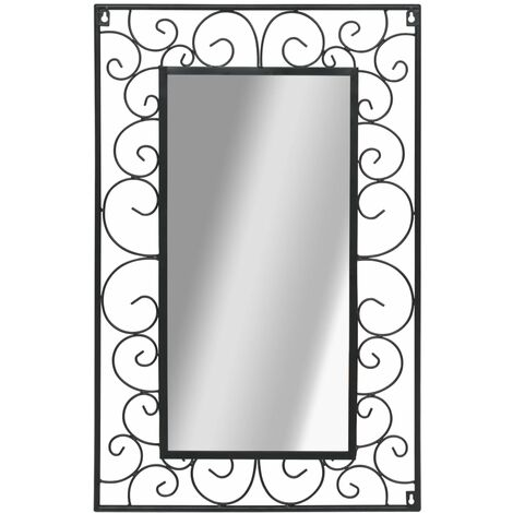 Hommoo Espejo de pared rectangular 50x80 cm negro HAXD11864