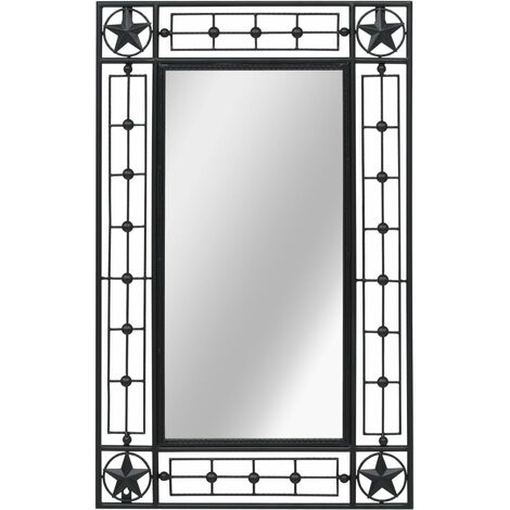 Hommoo Espejo de pared rectangular 50x80 cm negro HAXD11868