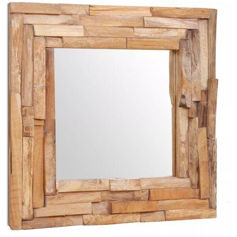 Hommoo Espejo decorativo de teca 60x60 cm cuadrado