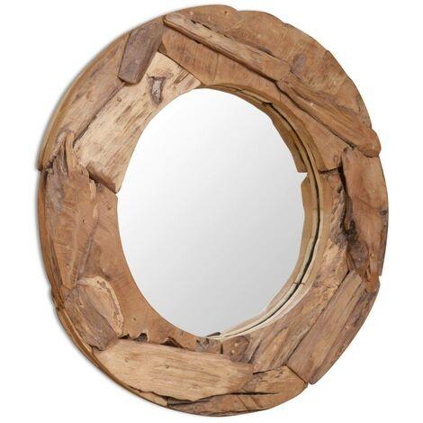 Hommoo Espejo decorativo de teca 80 cm redondo