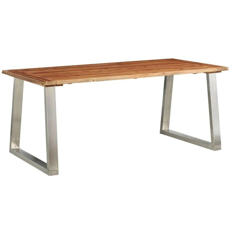 Esstisch 180x90x75 cm Akazie Massivholz und Edelstahl VD24535 - Hommoo