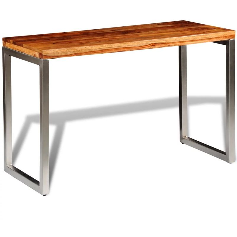 Esstisch Schreibtisch Sheesham Massivholz mit Stahlbeinen VD09066 - Hommoo