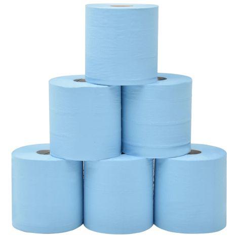 Hommoo Essuie-tout en papier 2 couches 6 rouleaux 20 cm Bleu